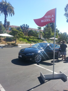 Tesla Model S ready to load up passengers for a test-drive.